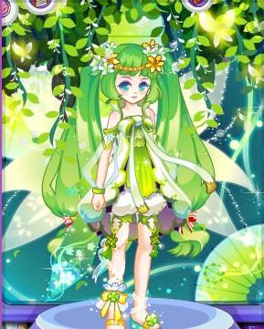 绿色动漫少女图手绘