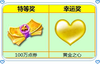 炫舞时代3月彩票奖品展示 100万点券等你